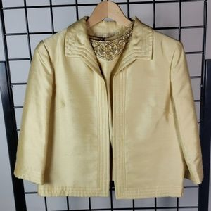Jackets & Blazers - Vintage 60s gold silk jacket and blouse